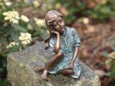 Bronzen Beeld - Denkend Meisje - Bronzartes Voor de tuin of in huis