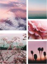 Wohnidee - Canvas Schilderij set van 5 - Roze Stilte - 60x80 cm