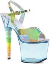 SKY-309MT (EU 36 = US 6) 7 Heel, 2 3/4 Tinted Platform Ankle Strap Sandal