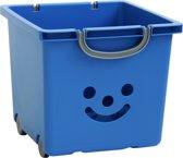 IRIS Smiley Kids Box Opbergbox met wieltjes - 25l - Kunststof - Blauw/Zilver