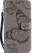 Luxe PU leren bookcase voor Apple iPhone 7 | iPhone 8 | Vlinders | Butterfly | Bloemen | Leren Portemonnee Hoesje | Lederen Wallet Case TPU | Book Case | Flip Cover | Klap - 360 beschermend Telefoonhoesje | Grijs