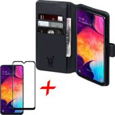 Samsung Galaxy A50 Hoesje + Screenprotector Full Screen - Book Case Portemonnee - iCall - Zwart