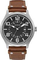 Guess W1301G1 horloge Zilverkleurig Leer 48 mm