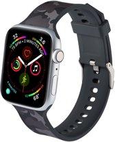 Shop4 - Apple Watch 3/2/1 38mm Bandje - Medium Siliconen Camouflage Grijs