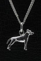 Zilveren Amerikaanse pitt bull terrier oren ongecoupeerd ketting hanger - klein