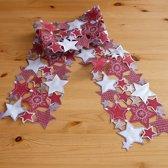 Kerstkleed - Grijs - Rood -  Sterren - Loper 20x160 cm