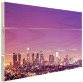 Los Angeles bij nacht Hout 120x80 cm - Foto print op Hout (Wanddecoratie)