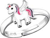 zilveren verstelbare kinderring met een unicorn   Sterling 925 Silver (Echt zilver)