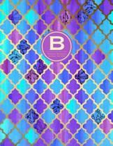Monogram Journal B - Personal, Dot Grid - Blue & Purple Moroccan Design