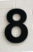 Huisnummer 8 Arial / 15 cm / mat zwart acrylaat 8 mm. Huisnummers met 5 jaar garantie.