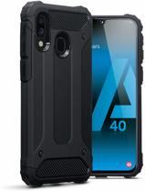 Samsung Galaxy A40 Hoesje - Anti Shock Armor Hybrid Hoesje - Zwart