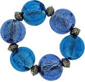 Blauwe elastische glaskralen armband