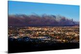 Donkere wolkenformatie vormt zich boven het Amerikaanse Santa Ana Aluminium 180x120 cm - Foto print op Aluminium (metaal wanddecoratie) XXL / Groot formaat!