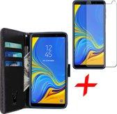 Samsung Galaxy A7 (2018) Hoesje Book Case met Pasjeshouder Zwart + Screenprotector Gehard Glas - Wallet van iCall