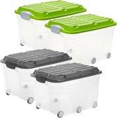 Rotho - Opbergbox - 2 x 57 Liter - 595 x 400 x 370 mm - Transparant