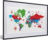 Foto in lijst - Kleurrijke wereldkaart op een witte achtergrond fotolijst zwart met witte passe-partout 60x40 cm - Poster in lijst (Wanddecoratie woonkamer / slaapkamer)