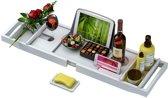 Bathr Luxe Bamboe Badrekje - Badplank Voor In Bad - Badplank Bamboe - Met Boeksteun / Tablethouder En Wijnglashouder - Bad Rek - Verstelbaar - 75 tot 110 cm - Hout - Wit
