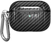 Teleplus Apple Airpods Pro Carbon Patterned Silicone Case with Hook Black hoesje