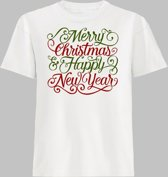 T-shirt Merry christmas and happy new year - Wit - 158/164