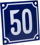 Emaille huisnummer blauw/wit nr. 50 10x10cm