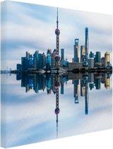 Skyline van Shanghai blauwe lucht Canvas 180x120 cm - Foto print op Canvas schilderij (Wanddecoratie woonkamer / slaapkamer) / Steden Canvas Schilderijen XXL / Groot formaat!