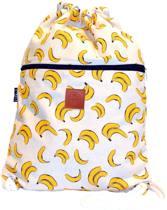 Rugtas Bananas   T-Bags   100% Katoen   14 Liter   Wit & Geel   Comfortabel