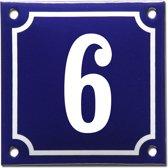 Emaille huisnummer blauw/wit nr. 6