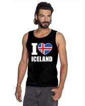 Zwart I love Ijsland supporter singlet shirt/ tanktop heren - Ijslands shirt heren 2XL