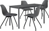 Eetkamerset Ede donkergrijs - tafel 140x60cm met 4 stoelen