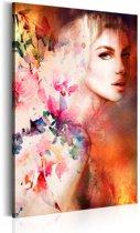 Schilderij - Godin van de Elementen  , Multi kleur