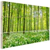 Groene bomen in het bos Hout 30x20 cm - klein - Foto print op Hout (Wanddecoratie)
