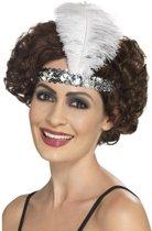 Zilveren Charleston hoofdband met veer - Jaren 20 accessoires