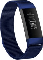 RVS blauw kleurig metalen milanese loop bandje / armband voor de Fitbit Charge 3 Watchbands-shop.nl
