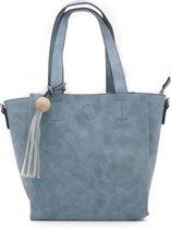 Handtas in blauw met sierkwast met houten kraal 6ab0b78e4d