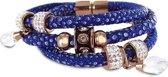 Silventi 980101575 Bedelarmband - gevlochten leer en staal elementen - beads en druppel bedels - zirkonia - lengte 20 cm - donkerblauw / rosékleurig
