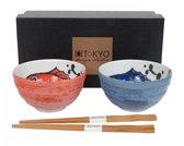 Tokyo Design Studio 14352 Kommenset Rond Blauw, Rood eetschaal