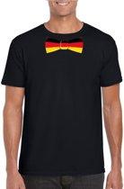 Zwart t-shirt met Duitse vlag strikje heren - Duitsland supporter S