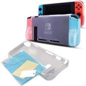 Nintendo Switch Hoesje Wit - Siliconen Hoes / Case - Cover met Screenprotector – Beschermhoes - Premium 2-in-1 Nintendo Switch Beschermingsset