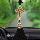 Mooie ornamenten metalen bloem Crystal Style opknoping decoratie voor auto en huishouden (goud)