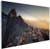 Uitzicht over de bergen Glas 60x40 cm - Foto print op Glas (Plexiglas wanddecoratie)