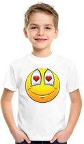 Smiley/ emoticon t-shirt verliefd wit kinderen XL (158-164)