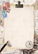 Schrijfblok Vintage - met 50 vellen A4 formaat  gelinieerd