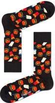 Happy Socks - Hamburger Junkfood - Zwart/Multi - Unisex - Maat 36-40