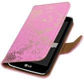 LG K10 Hoesje Bloem Bookstyle Roze