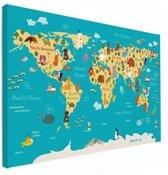 Wereldkaart voor kinderen op canvas 60x40 cm | Wereldkaart Canvas Schilderij