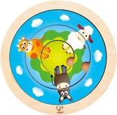 Hape Houten Vormenpuzzel Spinning Farm Junior 4-delig