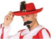 Rode musketier verkleed hoed voor volwassenen
