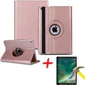 iPad 9.7 (2017 / 2018) Hoes + Screenprotector - 360 Graden Draaibaar Book Case Cover Leer - Hoesje van iCall - Roségoud