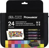 Winsor & Newton Brush- & Promarker etui - 24 kleuren - Mixed Media