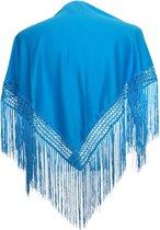 Spaanse manton - omslagdoek - voor kinderen - blauw effen - bij Flamencojurk